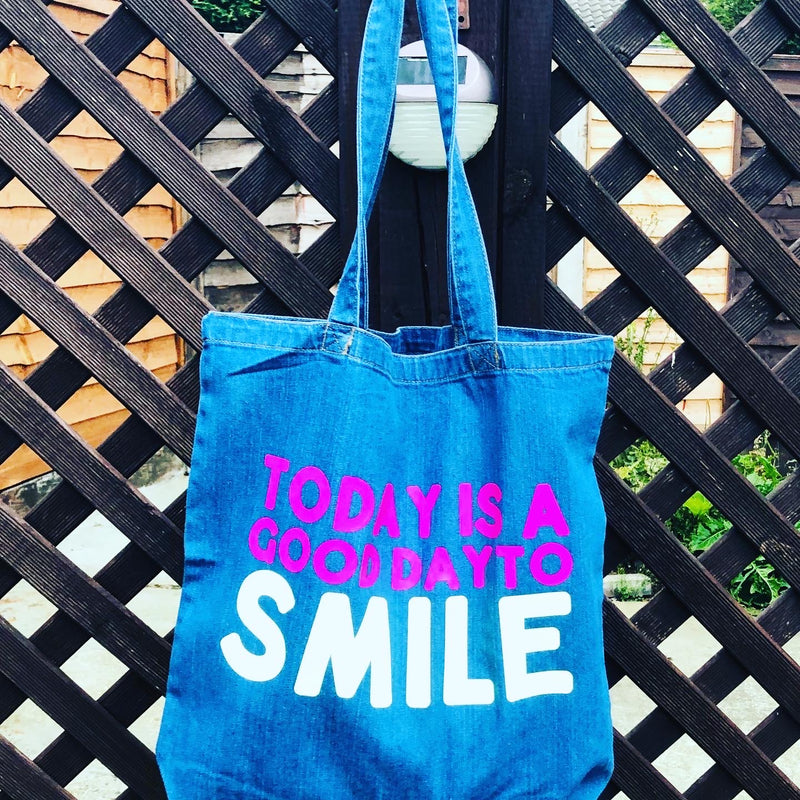 Today is a Good Day To Smile Denim Tote Bag