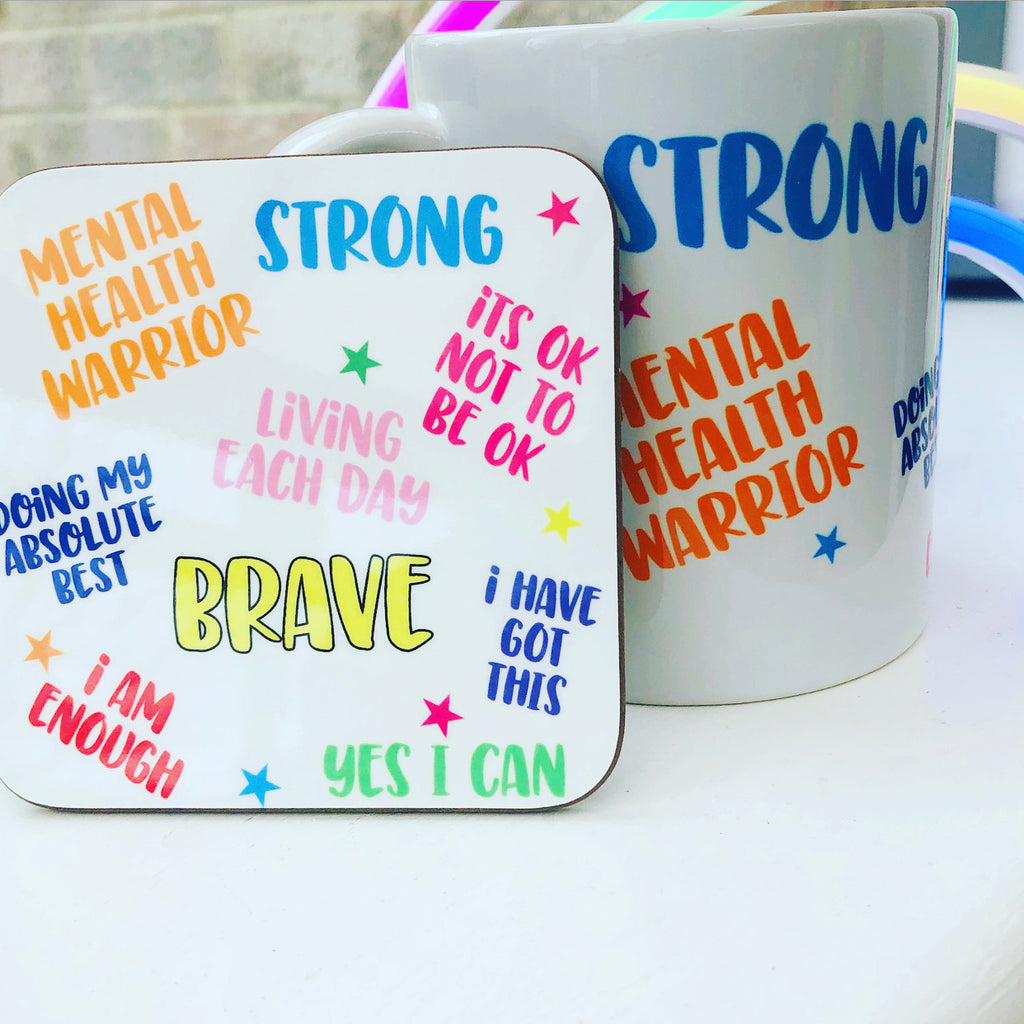 Mental Health Positive Affirmation Mug & Coaster Set