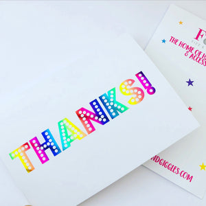 Rainbow Thank You Themed Card & Envelope Set