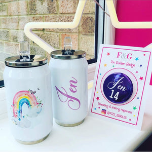 Floral Rainbow Insulated Coke Can Style Tumbler