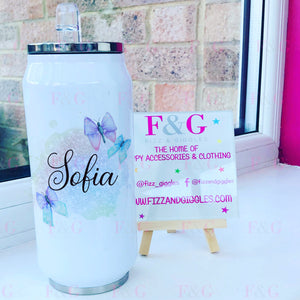 Bow - terfly Personalised 500ml Can Style Insulated Tumbler