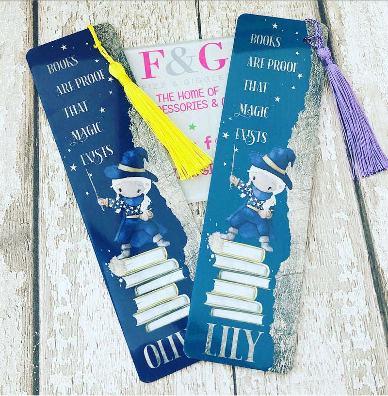 Books Are Proof That Magic Exists Personalised Bookmark - Blonde Girl Gold Leaf