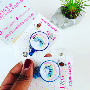 Personalised Rainbow Retractable ID Badge Holder.