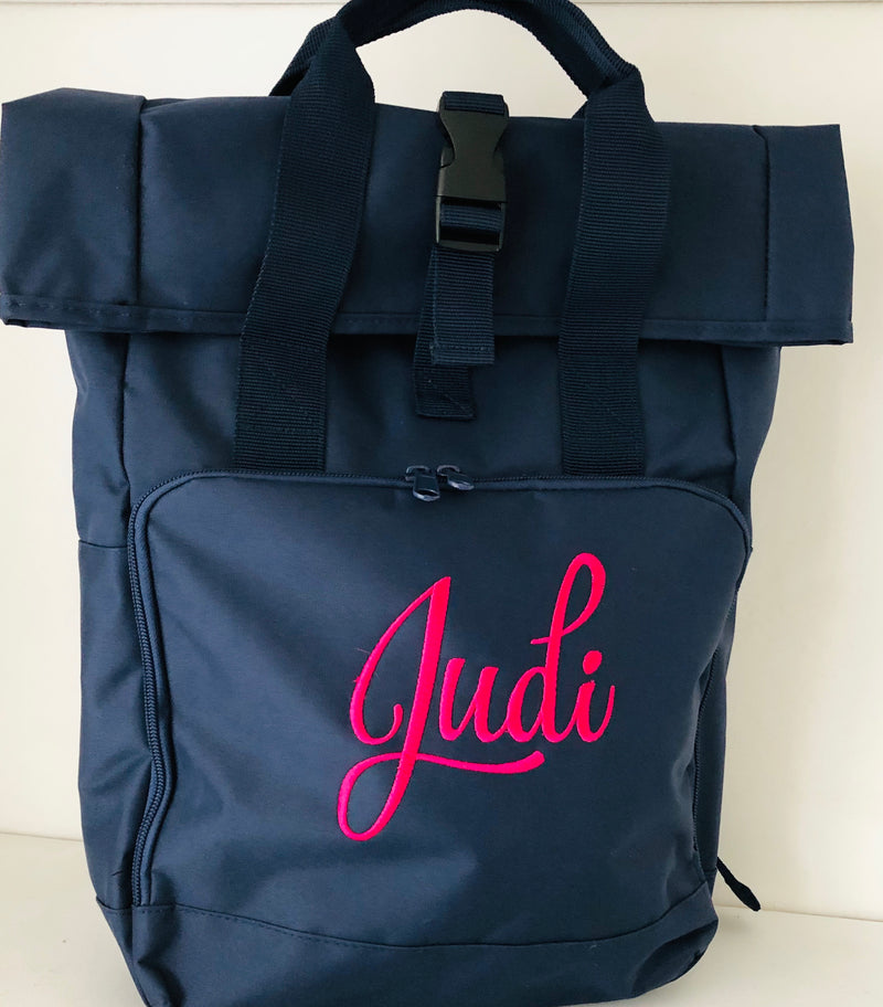 Personalised Embroidered Name Twin Handle Roll-Top Backpack