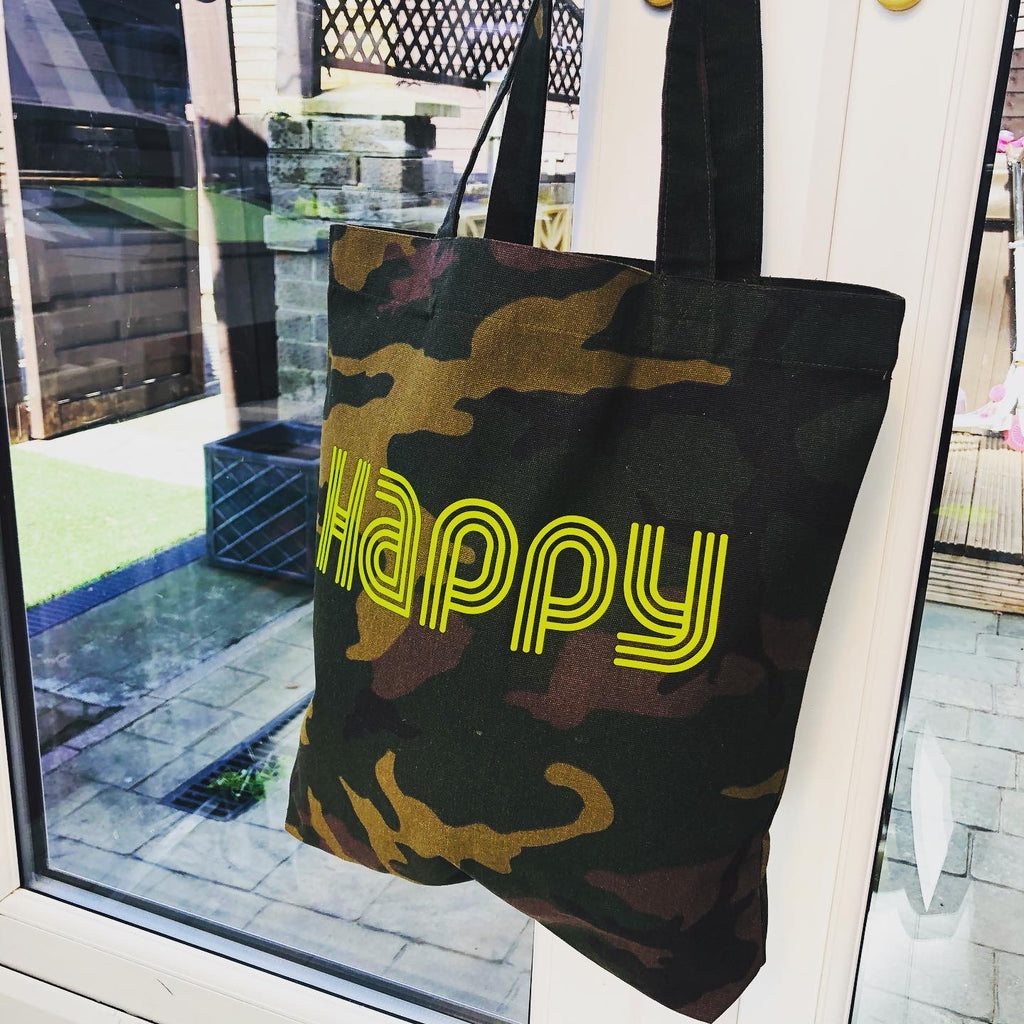 HAPPY - Camo Small Woven Shopper Bag