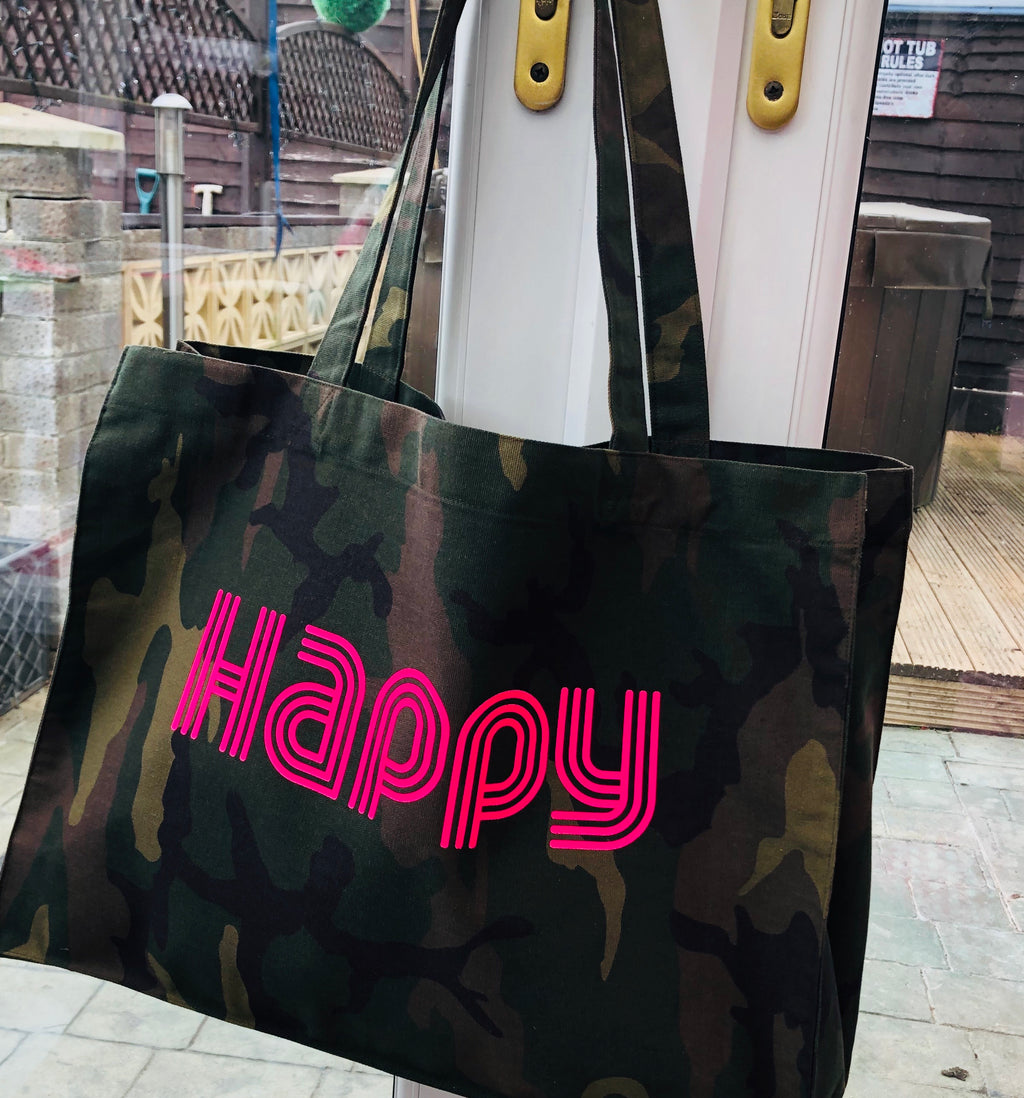 HAPPY - Camo Woven Shopper Bag