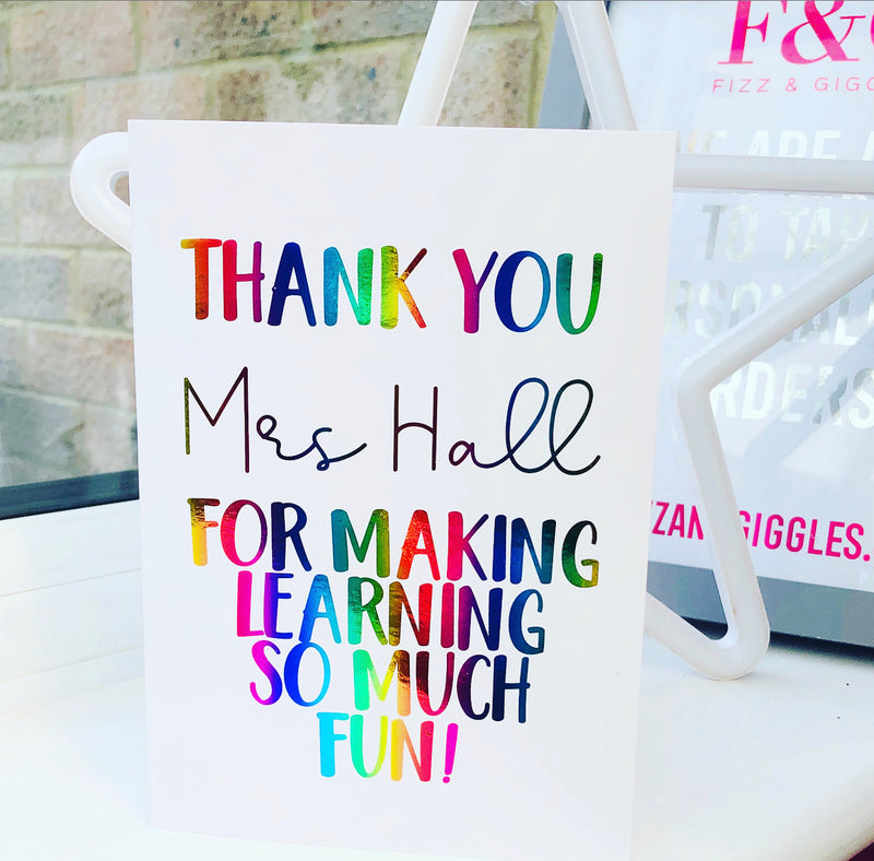 Personalised Foiled Teacher Card