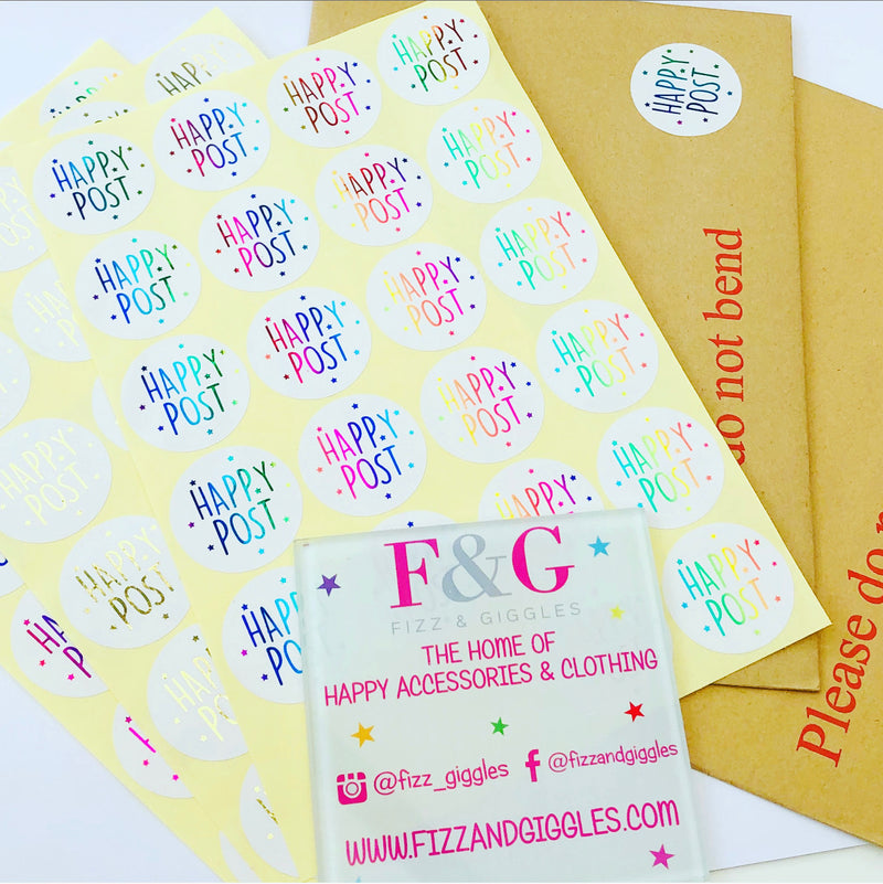Foiled Happy Post Stickers - 24 per sheet