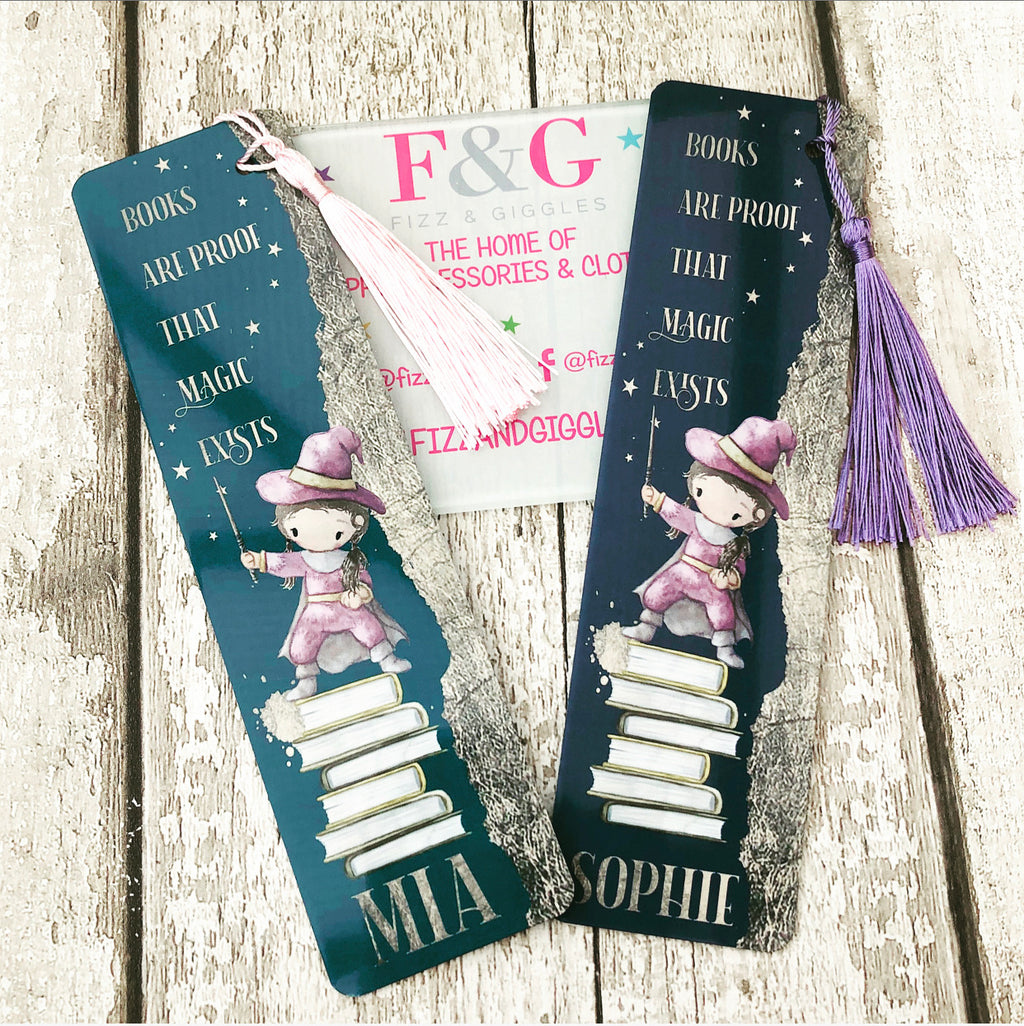 Books Are Proof That Magic Exists Personalised Bookmark - Brown Hair Girl Gold Leaf
