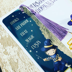 Books Are Proof That Magic Exists Personalised Bookmark - Brown Hair Boy Gold Leaf