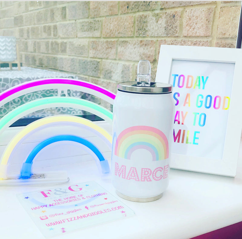Personalised Pastel Rainbow Insulated Coke Can Style Tumbler