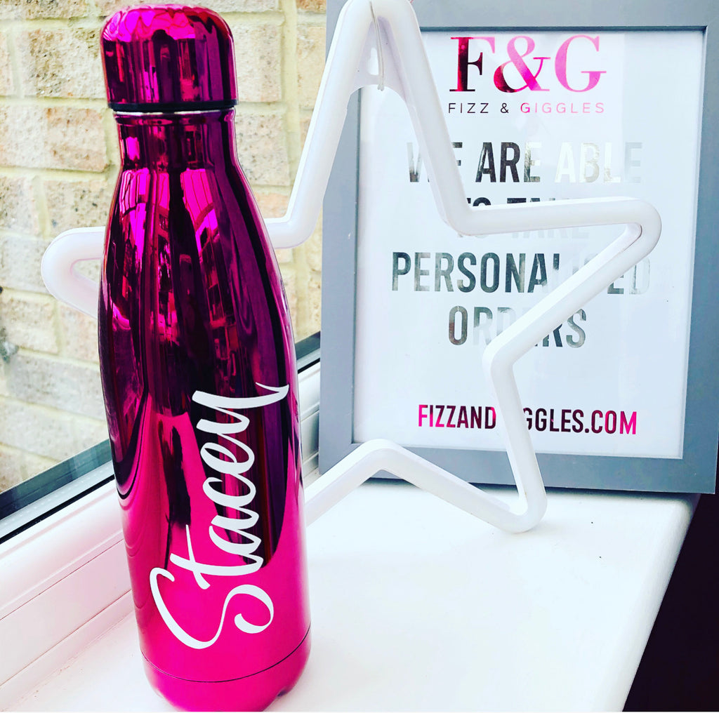 Hot Pink Gloss Personalised Insulated Flask