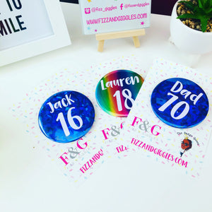 Large Personalised Foiled Age Birthday Badge