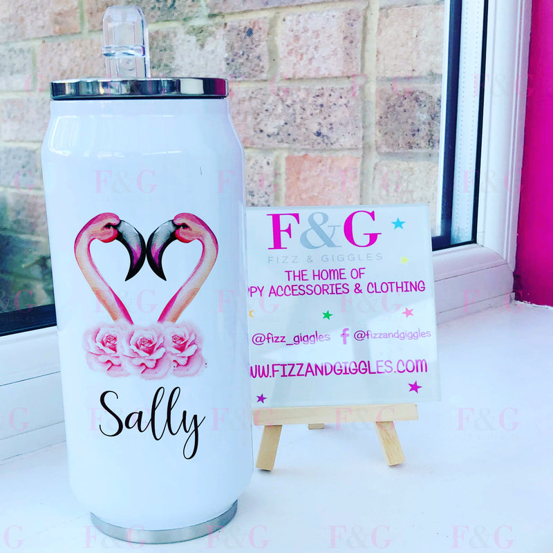 Personalised Flamingo 500ml Can Style Insulated Tumbler