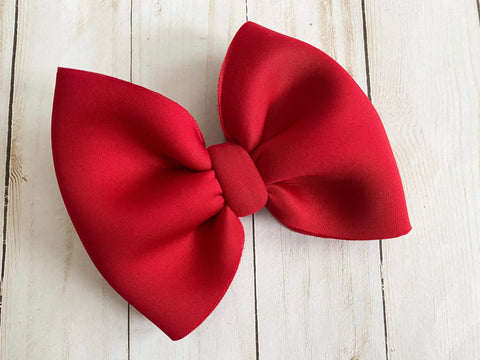 Solid Red Puff Bows