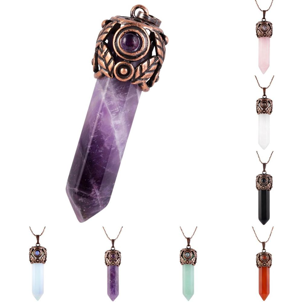 Natural Crystal Hexegonal Column Energy Pendant