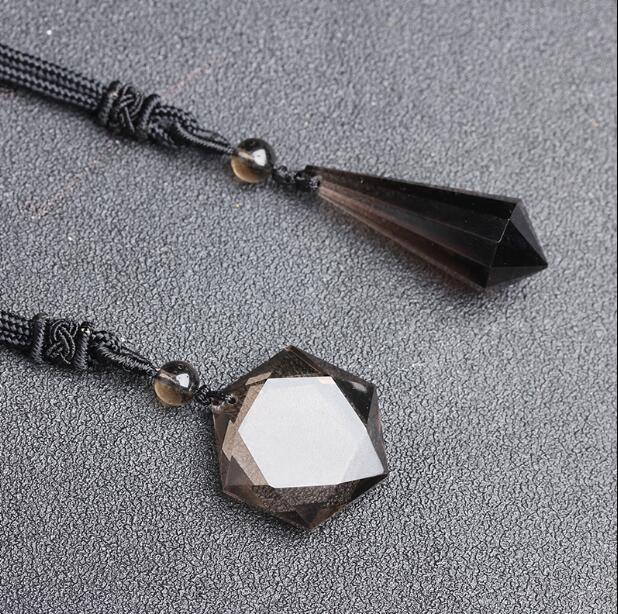 100% NATURAL Smoky Quartz Crystal Point Star of David Pendant