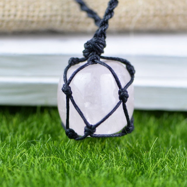 Hemp Macrame Necklace with Rose Quartz Stone