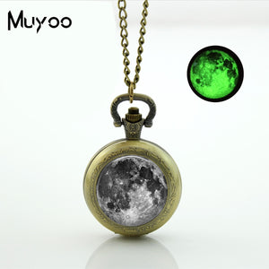 Glow-in-the-Dark Antique Bronze Grey Moon Pocket Watch Necklace