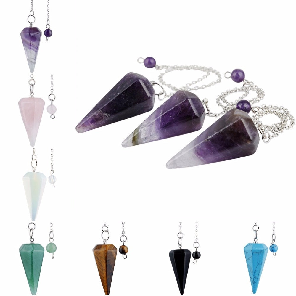 Crystal Gemstone Hexagonal Pointed Pendulum