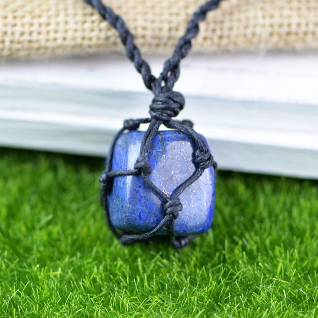 Hemp Macrame Necklace with Lapis Stone