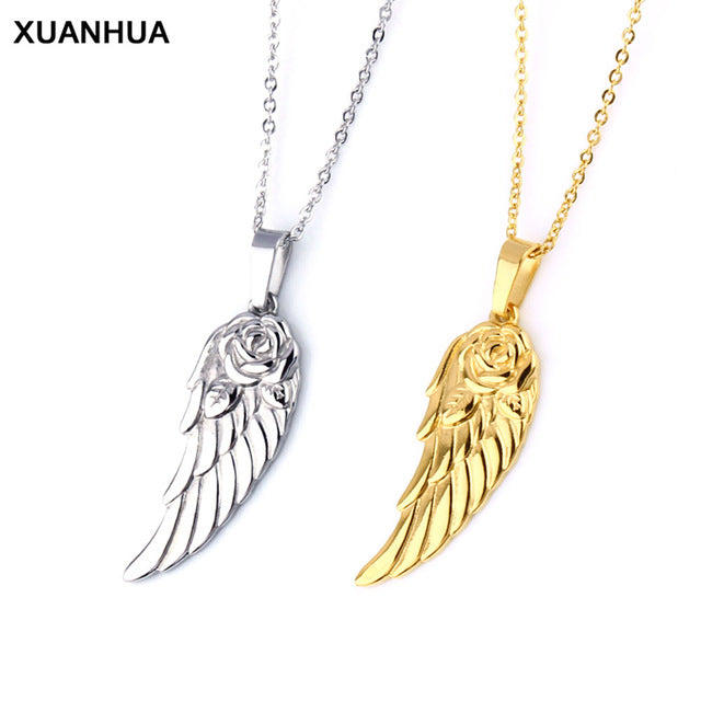 Rose Angel Wing Necklace