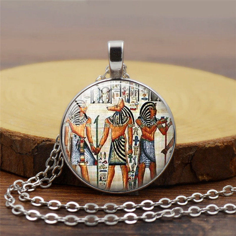 Vintage Egyptian Glass Dome Pendant with Long Chain