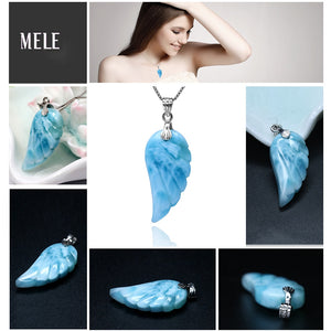 Larimar Feathered Wings Pendant