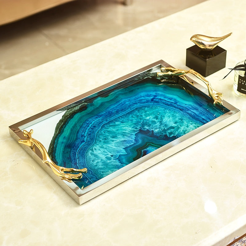 Luxury Agate Tray With Gold Frame Handle