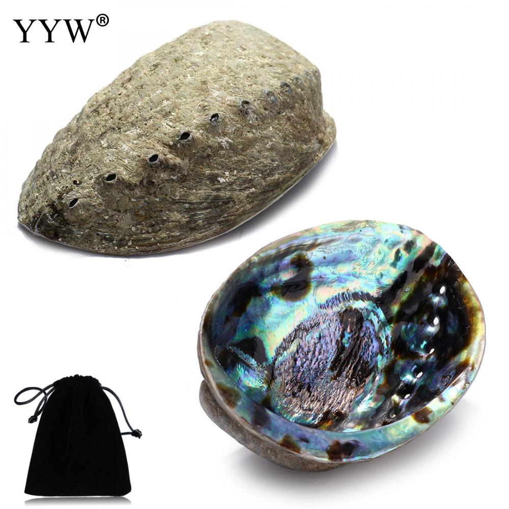 Large Abalone Shell Rainbow Oval Smudge Bowl With Velvet Pouch