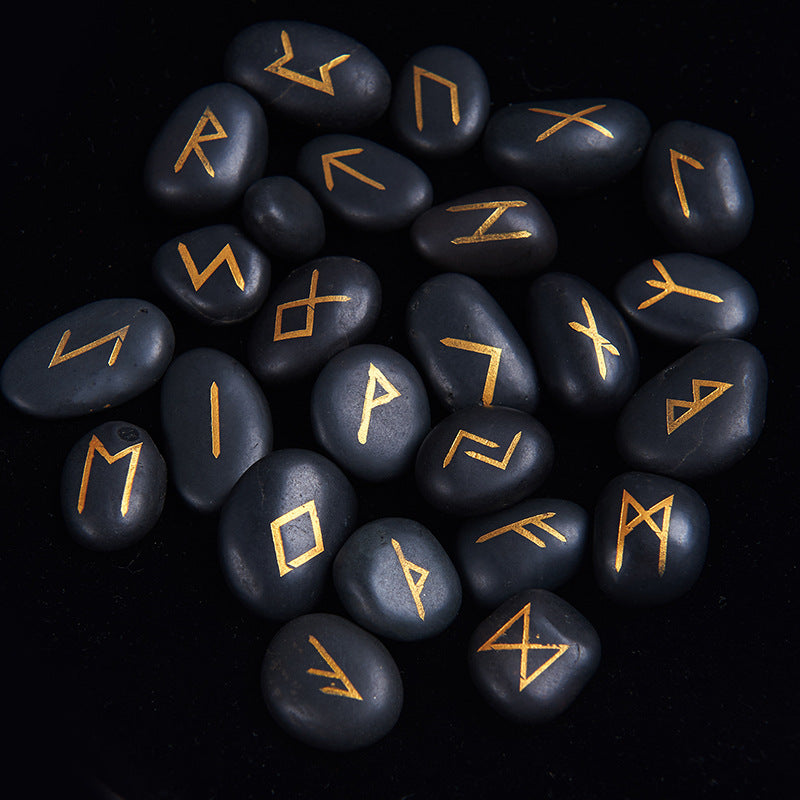 Engraved Black River Stones Viking Runes 25pcs Set