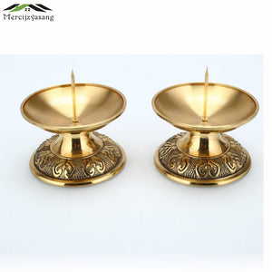 2PCS Copper Candlestick Candle Holders