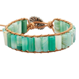 Handmade Tube Beads, Leather Rope Wrap Bracelet