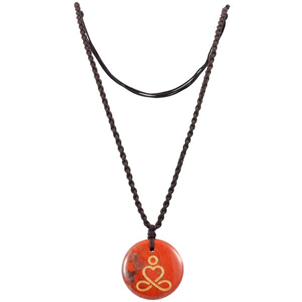 Engraved Round Stone Amulet Necklace with Adjustable Black Cord