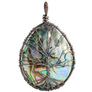 Rainbow Teardrop Abalone Shell Copper Wire Wrapped Tree of Life Pendant
