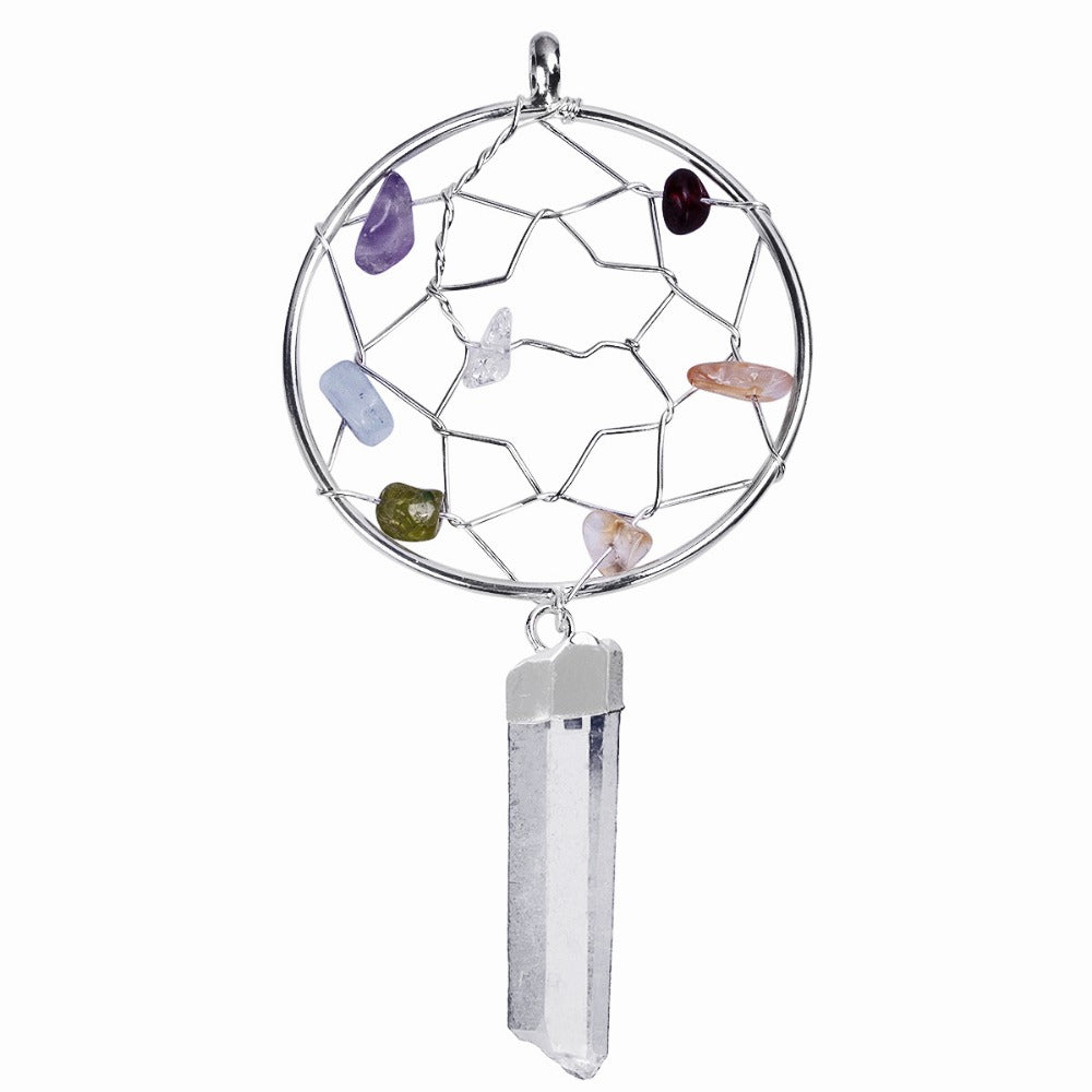 Chakra Stone Dream Catcher Pendant with Natural Raw Rock Quartz Crystal Point and Free Chain