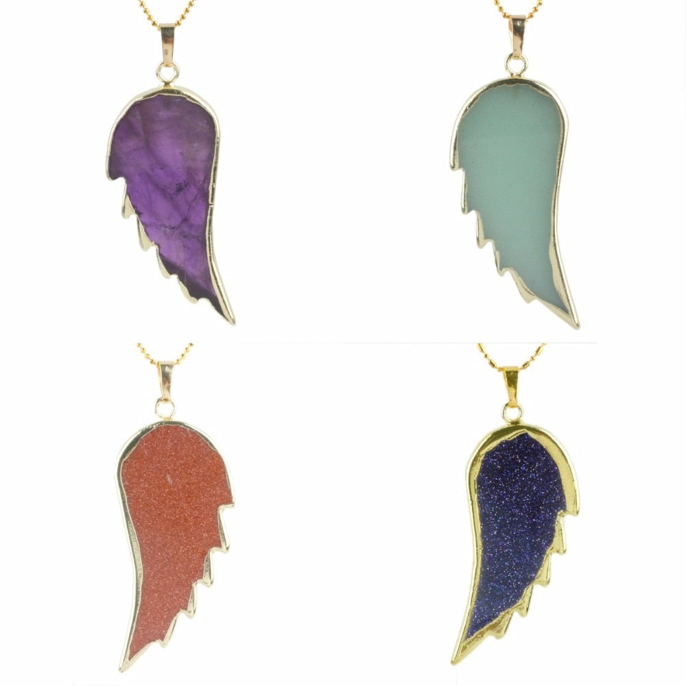 Gemstone Wings Necklace with Chain
