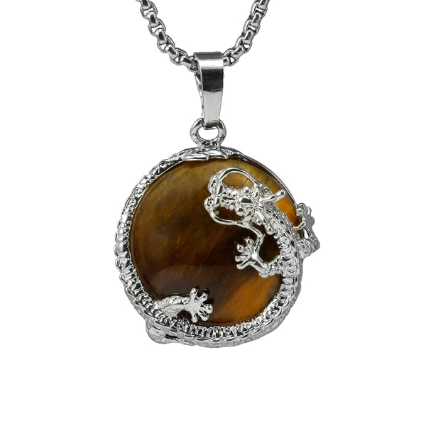 Half Ball Stone Dragon Necklace with Chain