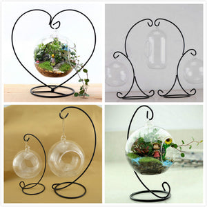 Black Metal Iron Stands and Glass Globes for Air Plant Fairy Garden