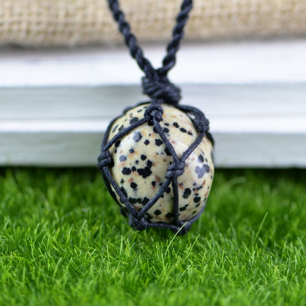 Hemp Macrame Necklace with Dalmatian Stone Pendant