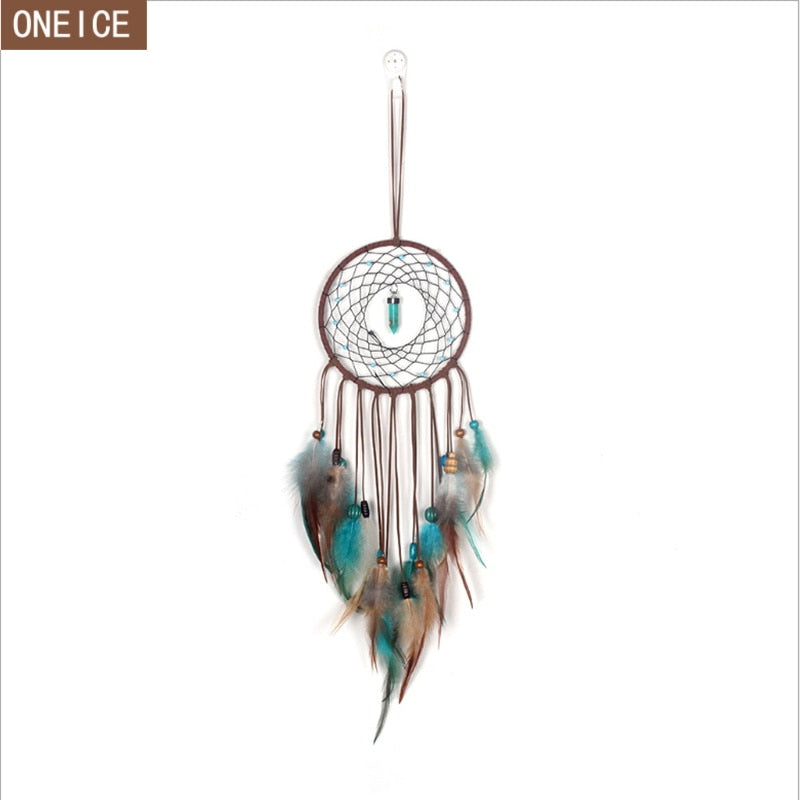 Dreamcatcher Hand-woven with Colored Feathers
