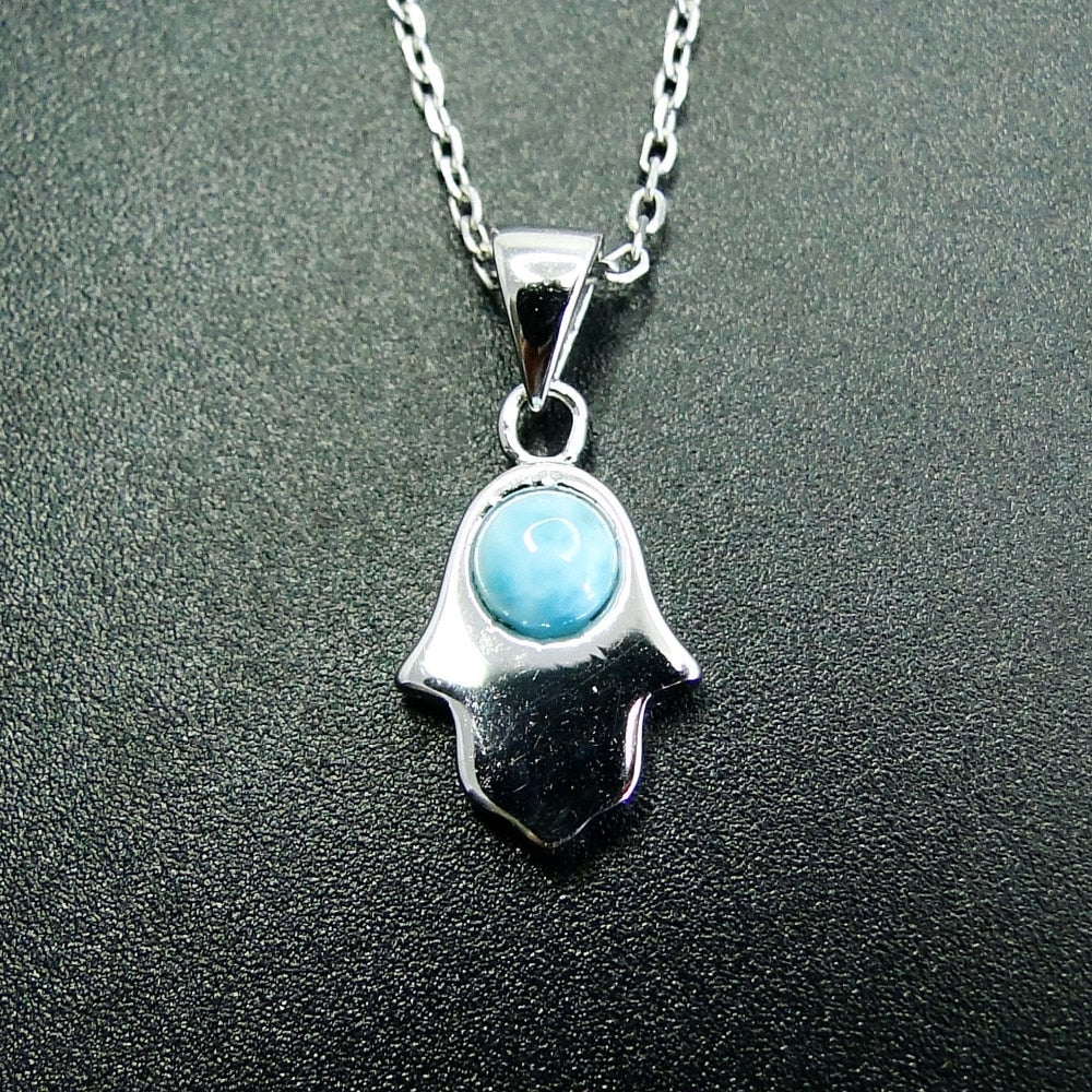 Mini Clavicle Pendant with Natural Larimar Stone