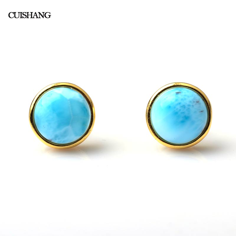 Natural Larimar Sterling Silver Earrings