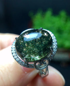 Natural Green Phantom Quartz Crystal Adjustable Ring