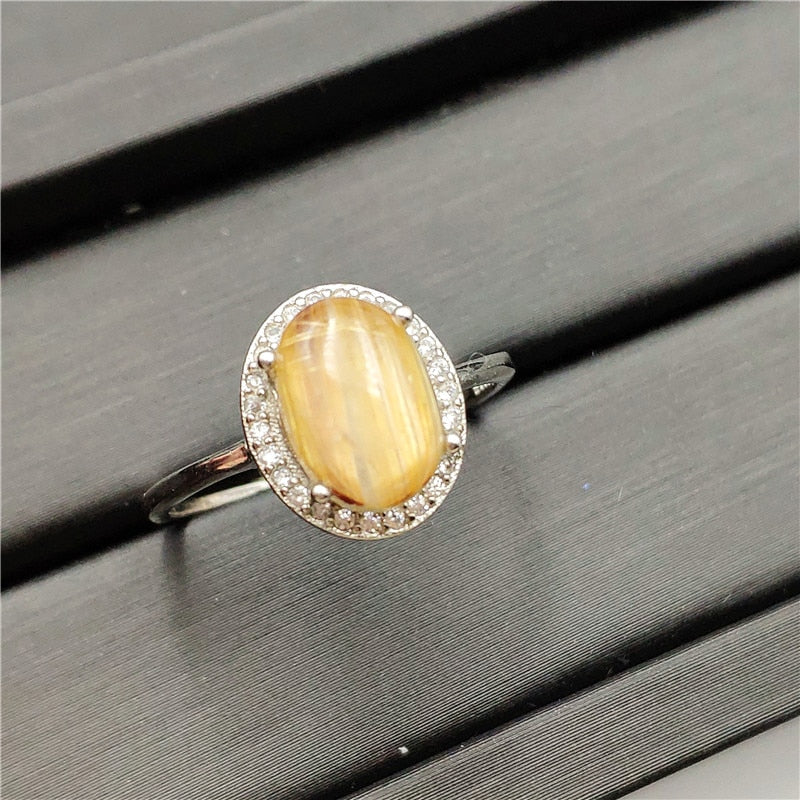 Natural Gold Rutilated Quartz Adjustable Ring (11x8mm)