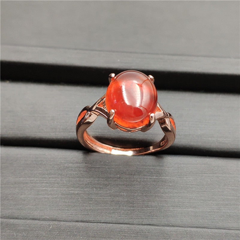 Natural Garnet Gemstone Adjustable Ring