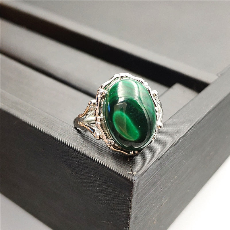 Natural Malachite Chrysocolla Adjustable Ring