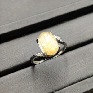 Natural Gold Rutilated Quartz Crystal Adjustable Ring (12x8mm)