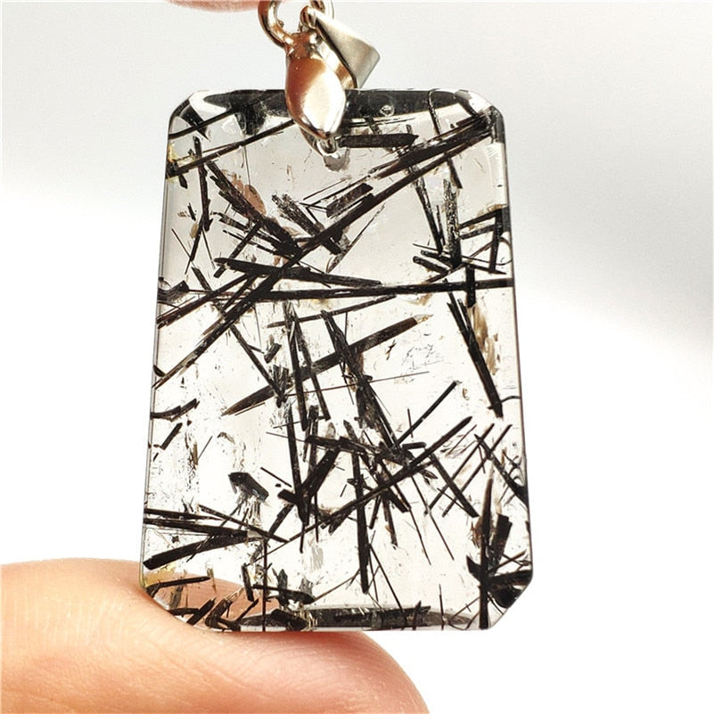 Natural Black Rutilated Quartz Pendant