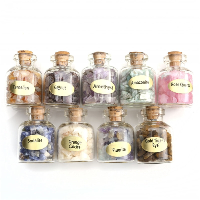 9 Bottles Mini Natural Semiprecious Gem Stones
